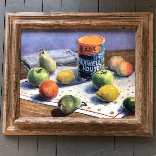 Vintage Original Modernist Still Life Fruit & Coffee Painting For Sale In Philadelphia - Image 6 of 6