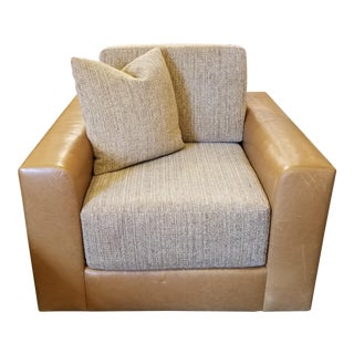 A. Rudin Tan Leather & Chenille Armchair