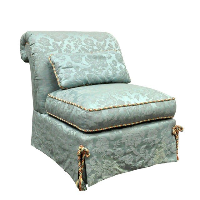 Vanguard Furniture Rolled Back Blue Upholstered Slipper Chair - Image 11 of 11