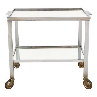 1950s French Nickel Bar Cart For Sale
