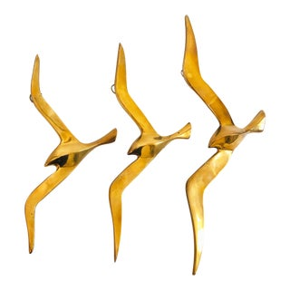 Set of 3 Vintage Brass Wall Birds For Sale