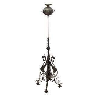 Bradley & Hubbard Antique Wrought Iron Floor Oil Lamp For Sale