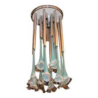 Turquoise Glass and Chrome Light Fixture For Sale