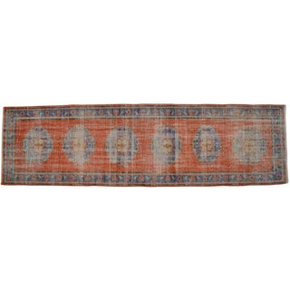 Vintage Turkish Oushak Distressed Hand Knotted Runner Rug - 3' x 10'6'' For Sale