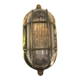 Mid-Century Nautical Oval Caged Flush Mount Ship Light For Sale