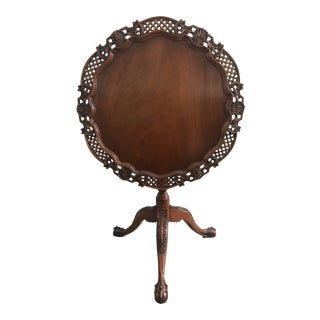 Georgian Mahogany Tilt-Top Basket Table For Sale