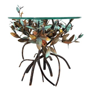 Vintage Copper and Glass Mangrove Side or Coffee Table, Signed by L V Jones, Florida For Sale