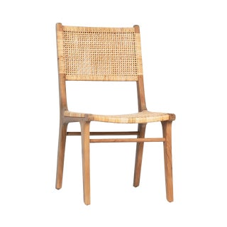 Natural Teak & Wicker Dining Chair For Sale