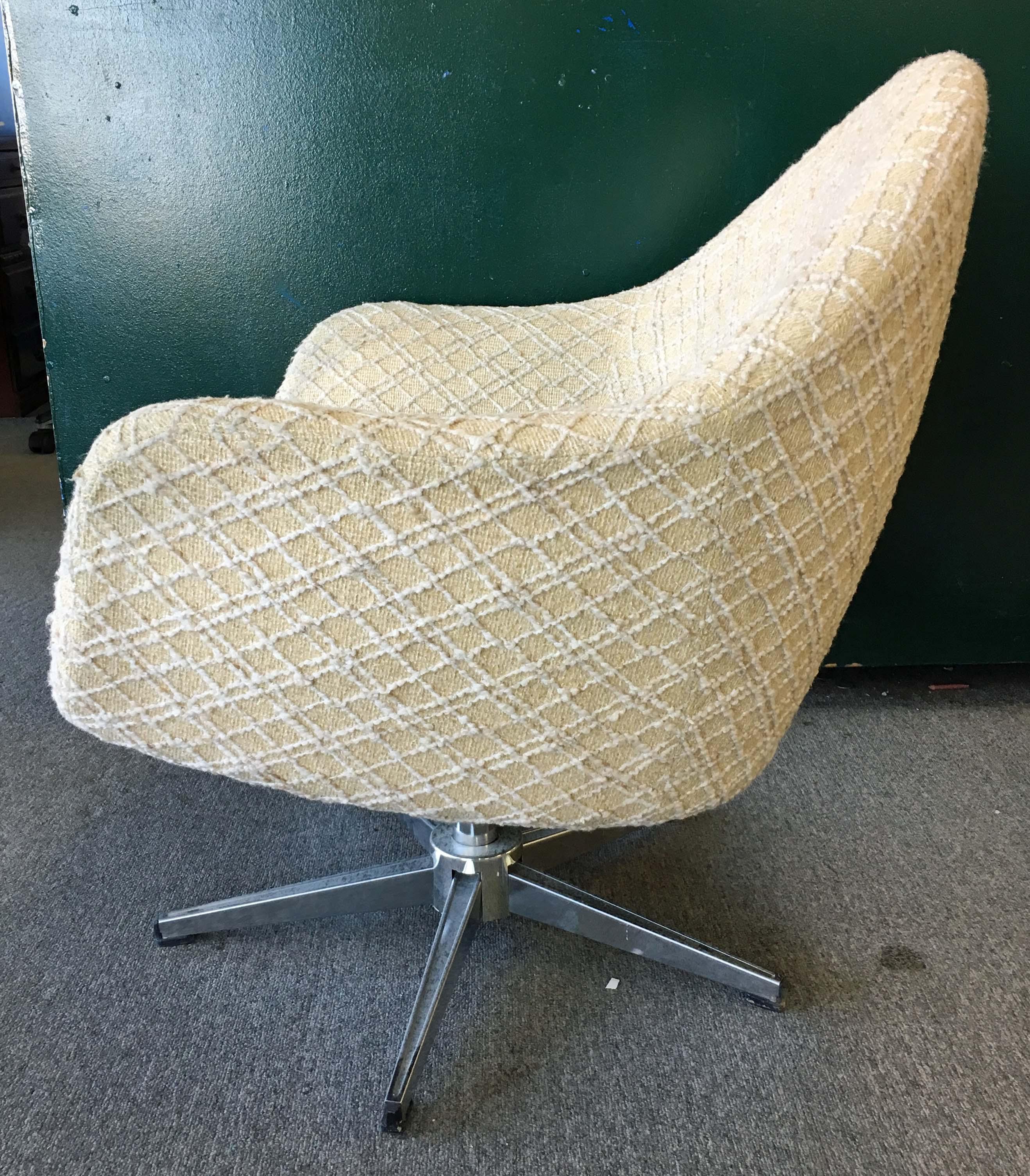 Mid Century Danish Modern Overman Chrome Swivel Pod Chair   Image 2 Of 10