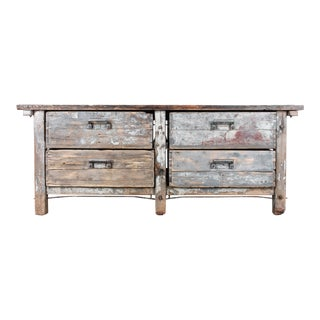 1940s Industrial Wooden Worktable For Sale