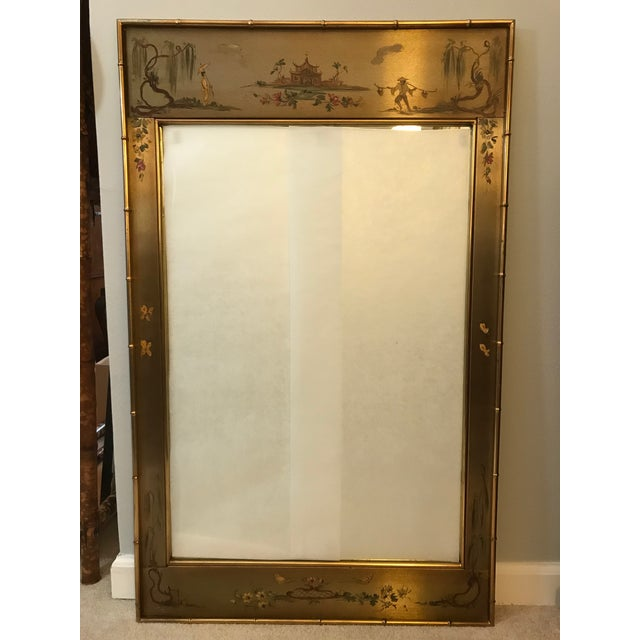 Beautiful Asian scenes hand-painted directly on brushed brass. Gorgeous gold faux bamboo frame with equally beautiful...