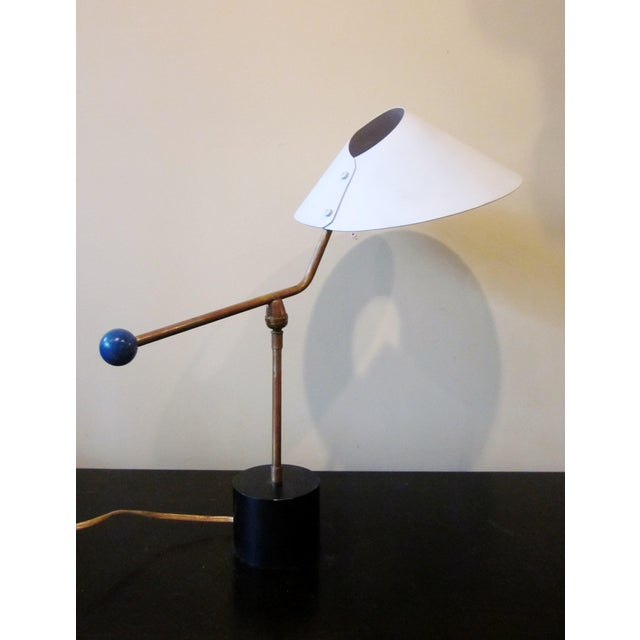 1950s 1950s Angular French Modernist Counterweight White UFO Shade Desk Lamp For Sale - Image 5 of 13