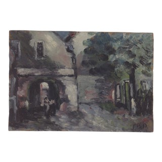 Mid 20th Century Vintage European Oil Painting For Sale