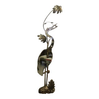Mid-Century Maison Charles Era French Heron Wall Mirror Lamp For Sale