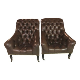 Ralph Lauren Mayfair Tufted Leather Occasional Chairs - A Pair For Sale
