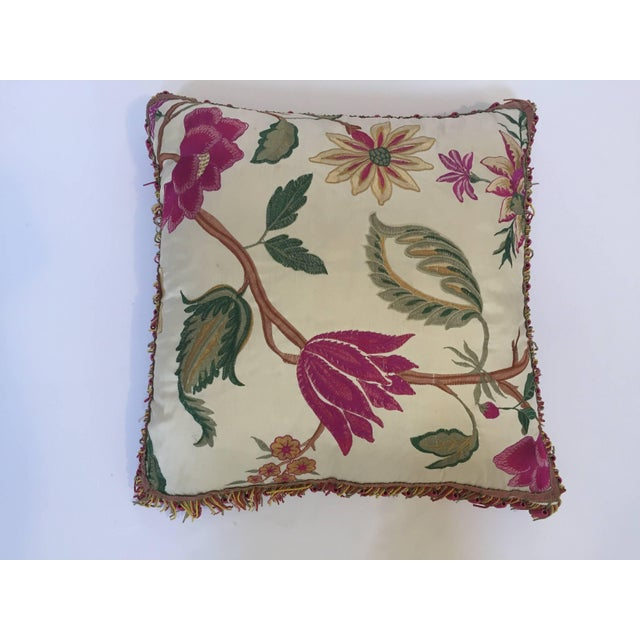 Gorgeous elegant vintage colorful silk pillow with spring fresh flowers designs and trim on all sides. Great crewel like...