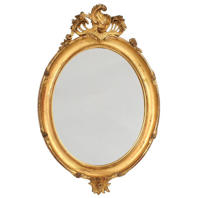 French Louis XV Style Giltwood Oval Mirror For Sale - Image 11 of 11