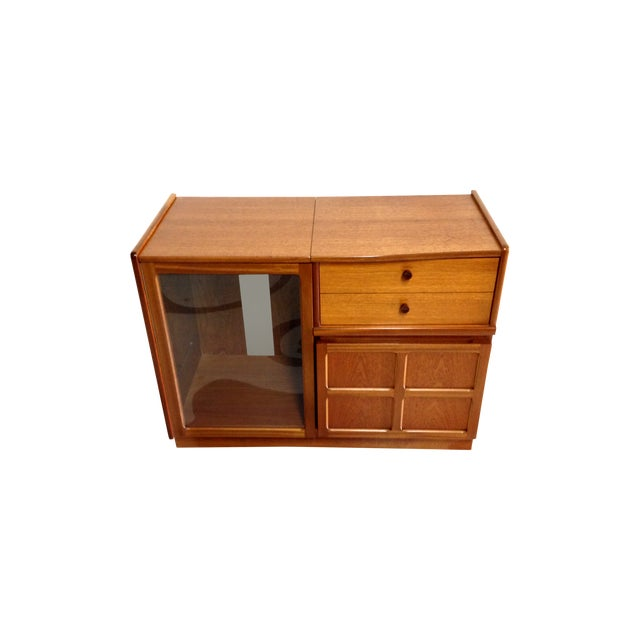 Nathan Glass Fronted Teak Cabinet With Shelves - Image 1 of 7
