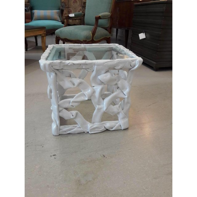Glass 1970s Abstract White Taffy Resin Cube Table For Sale - Image 7 of 9