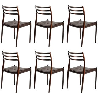 Mid Century Modern Refinished N. O. Moller Rosewood Dining Chairs - Set of 6 For Sale