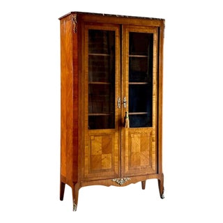 1870 Antique French Kingwood Bookcase Vitrine For Sale