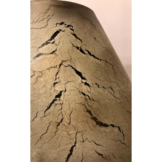 Ceramic Porcelain Crackle Glaze Table Lamps Chinese Inspired With Custom Shades - a Pair For Sale - Image 7 of 13