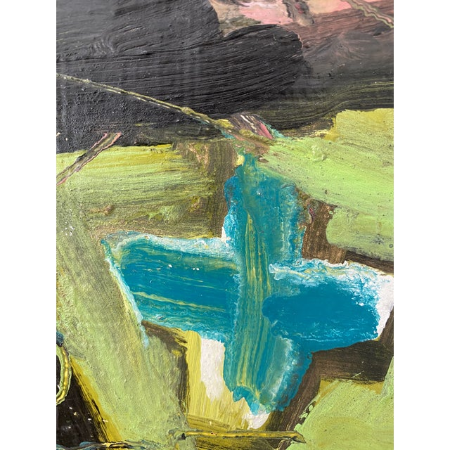 1970s Vintage Postmodern Abstract Sgraffito Oil Painting For Sale - Image 5 of 13