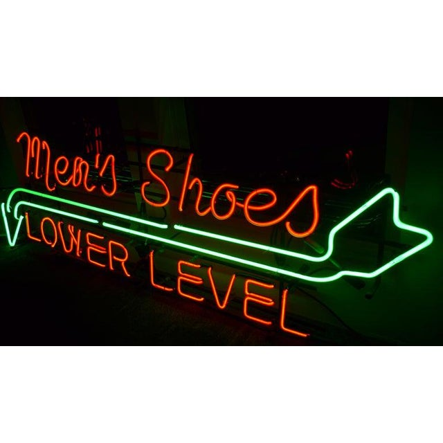 Neon Sign From Department Store, Men's Shoes, Lower Level, Circa 1930s. For Sale In Madison - Image 6 of 13