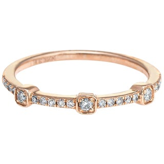 Diamond Stacking Ring 14 Karat Rose Gold Estate Fine Jewelry Wedding Band For Sale