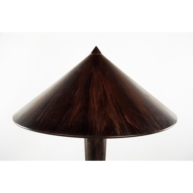 1970s Danish Modern Simulated Dark Walnut Metal 2-Light Table Lamp For Sale - Image 5 of 11