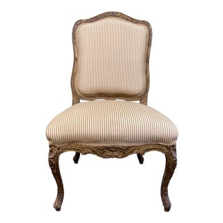 Early 20th Century Gilded + Clarence House Fabric Bergere Chair For Sale