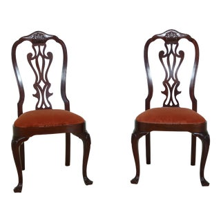 Councill Craftsmen Queen Anne Mahogany Side Chairs - a Pair For Sale