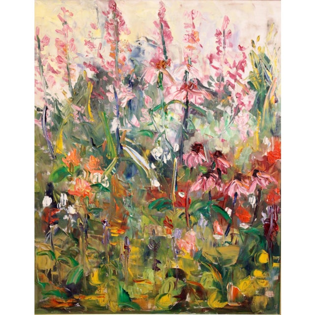 """A stunning and unique large impressionist botanical oil painting titled """"Fire Candle"""" by listed artist, Geraldine Harty,..."""