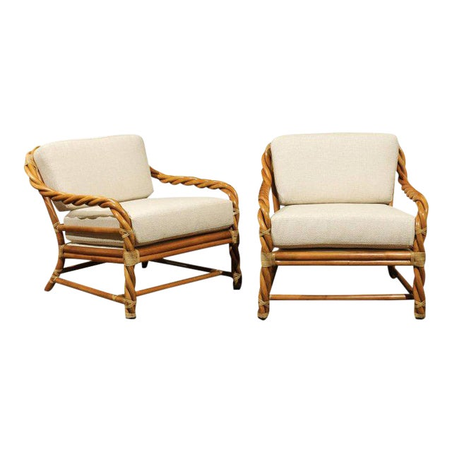 1980s Pair of Restored Braided Rattan Loungers by McGuire For Sale