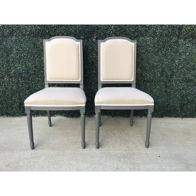 Sarried Ltd Louis XVI Gray Squared Side Chairs - A Pair For Sale - Image 13 of 13