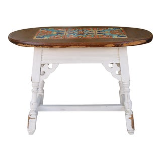 1980s Mission Style Small Tile Top Coffee Table For Sale