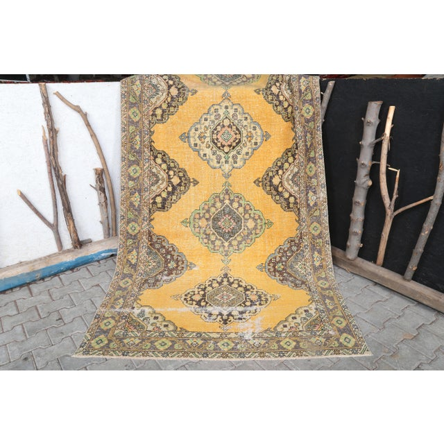 """1960s 1960's Wide Vintage Turkish Hand-Knotted Runner Rug - 5' X 12'4"""" For Sale - Image 5 of 11"""
