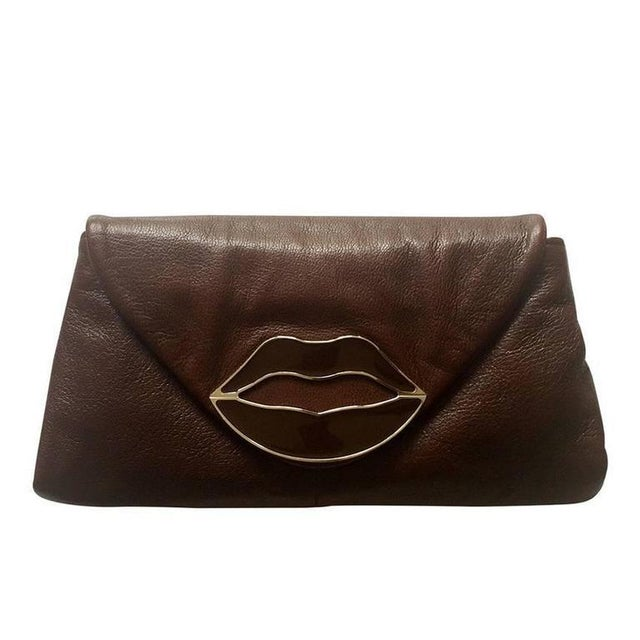 Brown Yves Saint Laurent Dali Lips Clutch Ysl 2003 Tom Ford Era Collectors For Sale - Image 8 of 8
