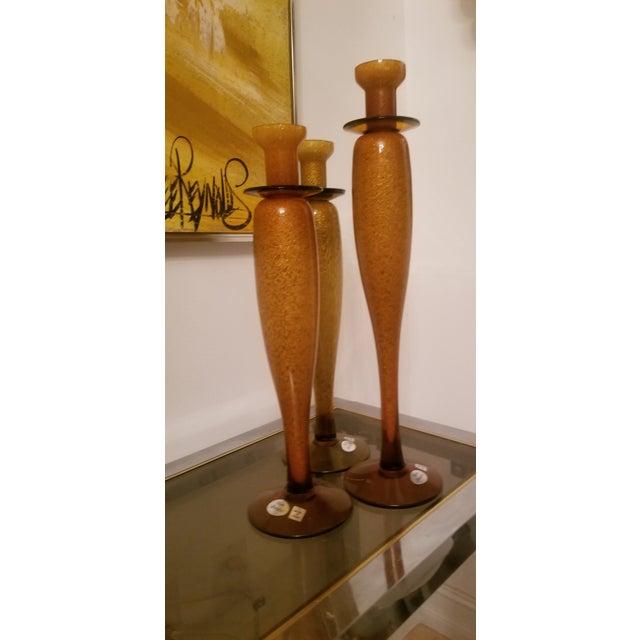 Murano Imported Custom Italian Vetri Artistia Trio of Elegant Tall Amber Murano Art Glass Candle Holders For Sale - Image 4 of 6