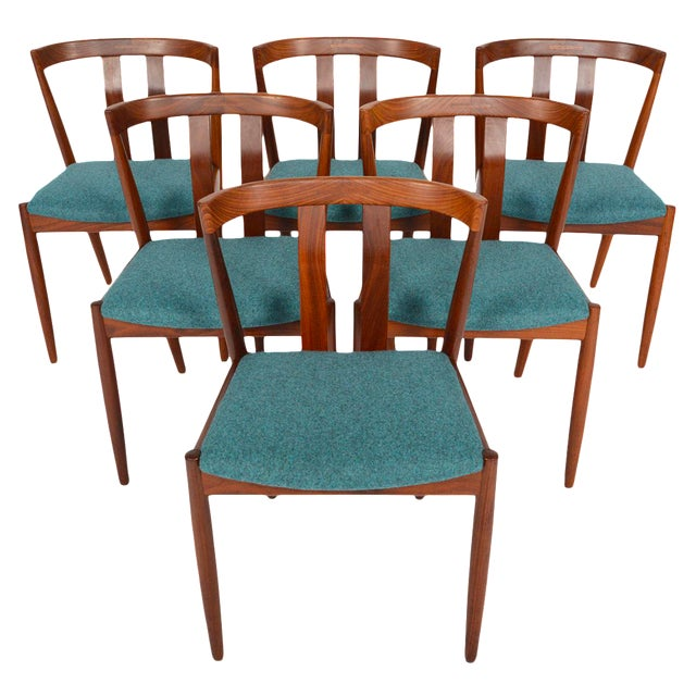 Danish Modern Curved Back Teak Dining Chairs - Set of 6 - Image 1 of 10