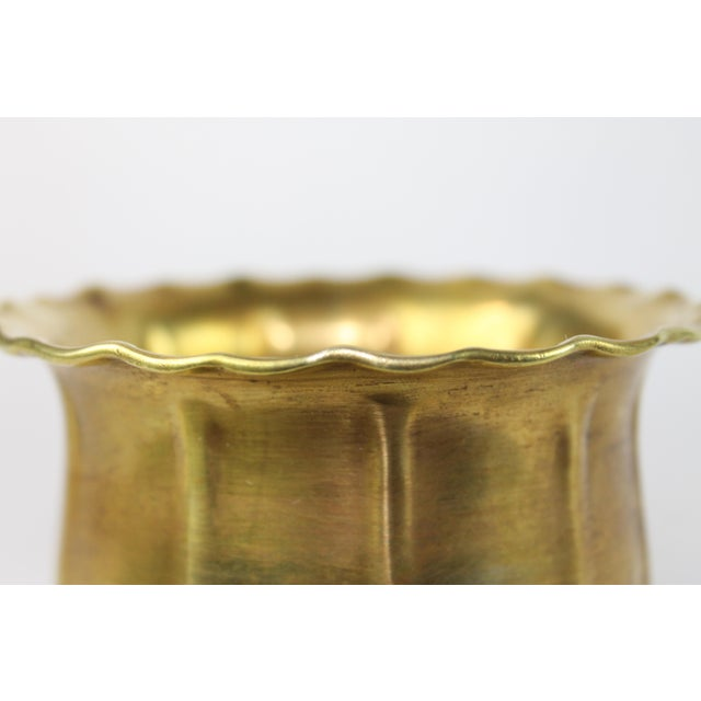 Scalloped Brass Bowl or Vase - Image 5 of 6