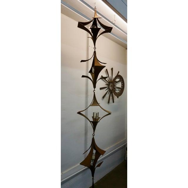 Brutalist 1960s Vintage Brutalist Sculptural Torch Cut Wrought Iron Lanterns - 5 Pieces For Sale - Image 3 of 8