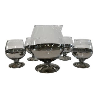 Mid Century Platinum Ombre Decanter and Snifter Glasses - Set of Five For Sale