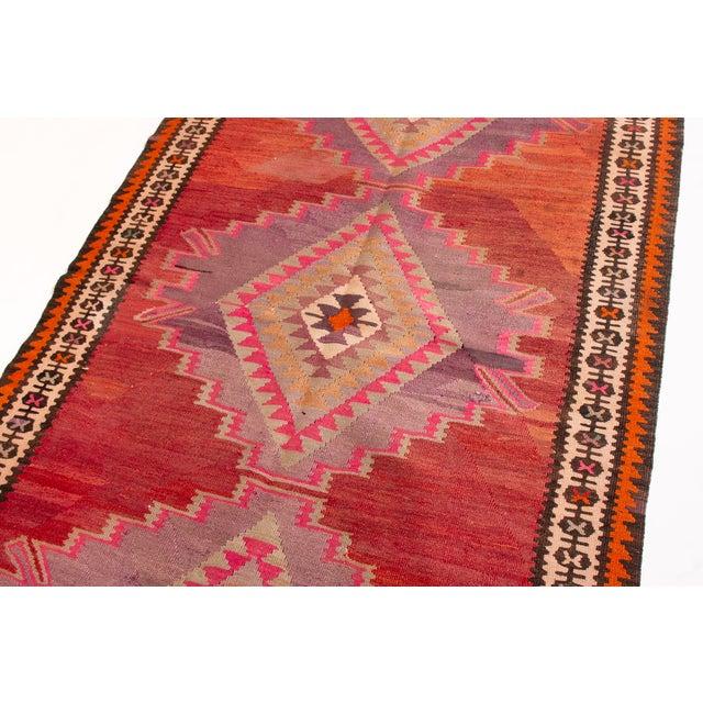 Mid 20th Century Vintage Mid-Century Red Geometric Wool Kilim Rug - 4′4″ × 9′4″ For Sale - Image 5 of 6