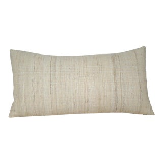 Boho Chic Creamy Wild Silk Bolster Pillow Cover For Sale