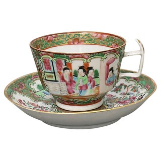 Antique Chinese Famile Rose Cup & Saucer For Sale