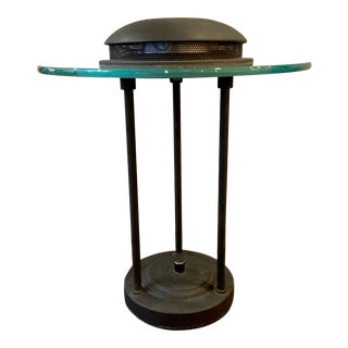 1980s Memphis Style Bankers Lamp in the Manner of Robert Sonneman For Sale