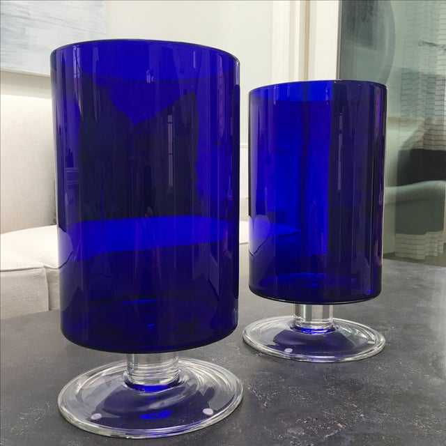 Cobalt Blue Glass Hurricanes For Sale In Los Angeles - Image 6 of 6
