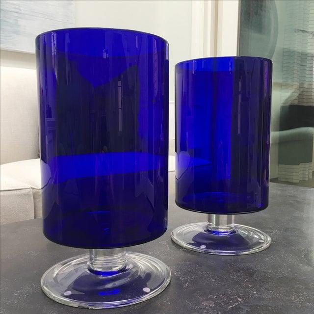 Cobalt Blue Glass Hurricanes - Image 6 of 6