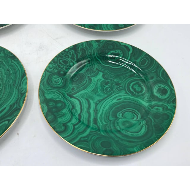 Mid 20th Century 1980s Neiman Marcus Malachite Porcelain Dessert Plates, Set of Four For Sale - Image 5 of 10